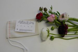 flowers with business card